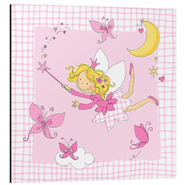 Alluminio Dibond  flying fairy with butterflies on checkered background - Fluffy Feelings