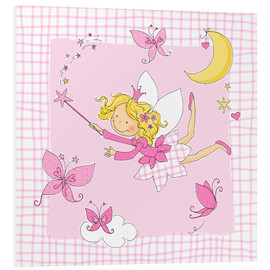 Stampa su schiuma dura  flying fairy with butterflies on checkered background - Fluffy Feelings
