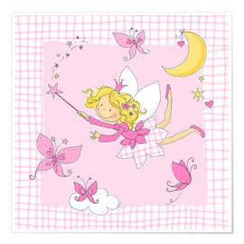 Poster Premium  flying fairy with butterflies on checkered background - Fluffy Feelings