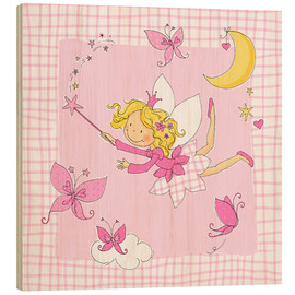Stampa su legno  flying fairy with butterflies on checkered background - Fluffy Feelings