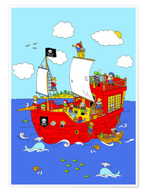 Poster Premium  pirate ship scene - Fluffy Feelings