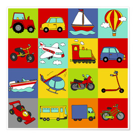 Poster Premium  transportation mosaic - Fluffy Feelings