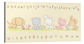 Stampa su alluminio  baby pet animals with alphabet and numbers - Fluffy Feelings