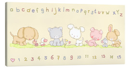 Stampa su tela  baby pet animals with alphabet and numbers - Fluffy Feelings