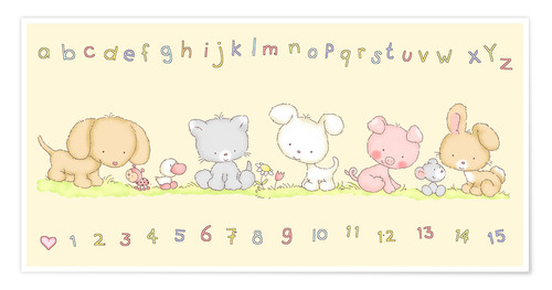 Poster Premium baby pet animals with alphabet and numbers