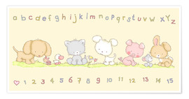 Poster Premium  baby pet animals with alphabet and numbers - Fluffy Feelings