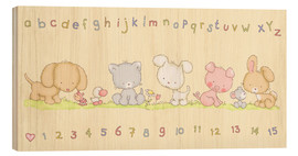 Stampa su legno  baby pet animals with alphabet and numbers - Fluffy Feelings