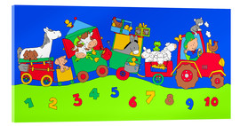 Stampa su vetro acrilico  tractor train with farm animals and numbers - Fluffy Feelings