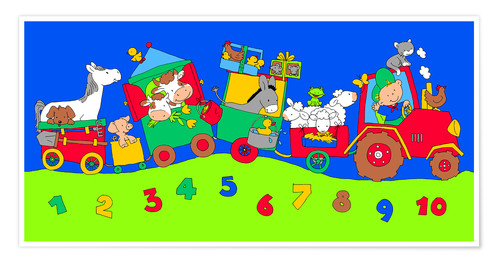 Poster Premium tractor train with farm animals and numbers