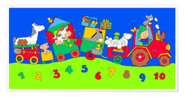 Poster Premium  tractor train with farm animals and numbers - Fluffy Feelings