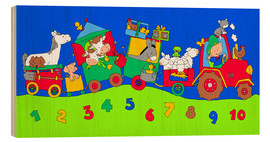 Stampa su legno  tractor train with farm animals and numbers - Fluffy Feelings