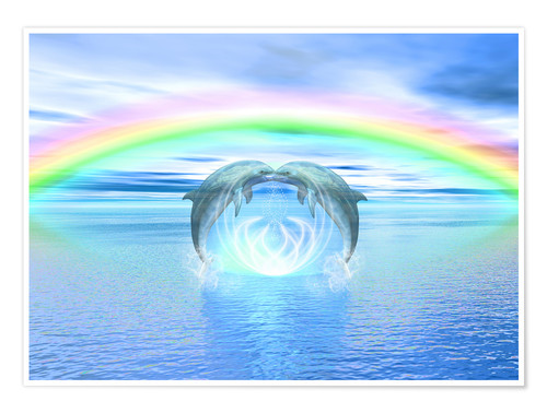 Poster Premium Dolphins Rainbow Healing