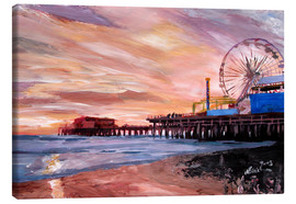Stampa su tela  Santa Monica Pier at Sunset - M. Bleichner