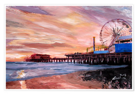 Poster Premium  Santa Monica Pier at Sunset - M. Bleichner
