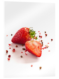 Stampa su vetro acrilico  Strawberries with red peppercorns - Edith Albuschat