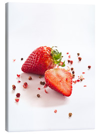 Stampa su tela  Strawberries with red peppercorns - Edith Albuschat