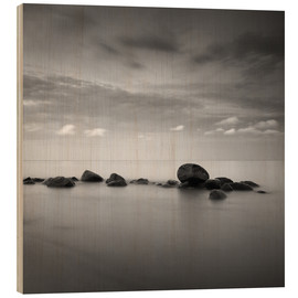 Stampa su legno  Stones on the sea beach - black and white - Frank Herrmann