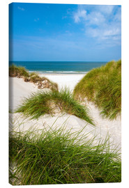 Stampa su tela  Seascape with dunes and beach grass - Reiner Würz