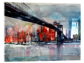 Stampa su vetro acrilico  New York, Brooklyn Bridge IV - Johann Pickl