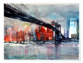 Poster Premium  New York, Ponte di Brooklyn IV - Johann Pickl