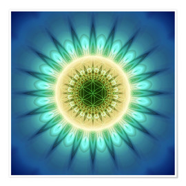 Poster Premium  mandala blue light with Flower of Life - Christine Bässler