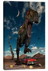 Stampa su tela  A Tyrannosaurus Rex about to crush a Cadillac with his feet. - Mark Stevenson
