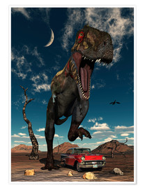 Poster Premium  A Tyrannosaurus Rex about to crush a Cadillac with his feet. - Mark Stevenson