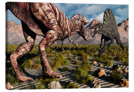 Stampa su tela  A confrontation between a T. Rex and a Spinosaurus dinosaur - Mark Stevenson