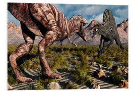 Stampa su schiuma dura  A confrontation between a T. Rex and a Spinosaurus dinosaur - Mark Stevenson