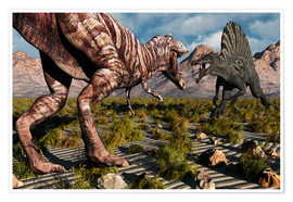 Poster  A confrontation between a T. Rex and a Spinosaurus dinosaur - Mark Stevenson