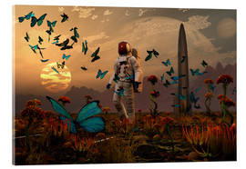 Stampa su vetro acrilico  A astronaut is greeted by a swarm of butterflies on an alien world. - Mark Stevenson