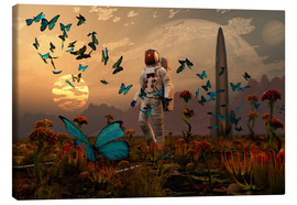 Stampa su tela  A astronaut is greeted by a swarm of butterflies on an alien world. - Mark Stevenson
