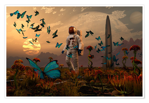 Poster Premium A astronaut is greeted by a swarm of butterflies on an alien world.