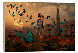 Stampa su legno  A astronaut is greeted by a swarm of butterflies on an alien world. - Mark Stevenson