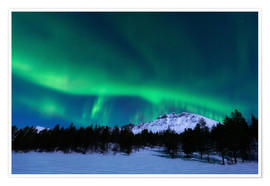 Poster Premium  Aurora Borealis over Nova Mountain Wilderness, Norway. - Arild Heitmann