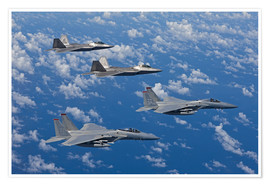 Poster Premium Two F-15 Eagles and F-22