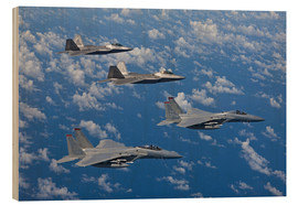 Stampa su legno  Two F-15 Eagles and F-22 - HIGH-G Productions