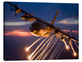 Stampa su tela  C-130 Hercules releases flares - HIGH-G Productions