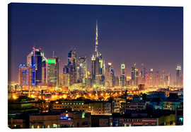 Stampa su tela  Dubai skyline at night - Stefan Becker