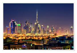 Poster Premium  Dubai skyline at night - Stefan Becker