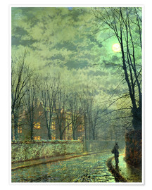 Poster Premium  Going Home by Moonlight - John Atkinson Grimshaw