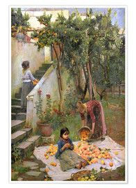 Poster Premium  I raccoglitori arancioni - John William Waterhouse