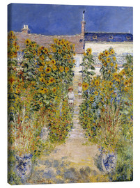 Stampa su tela  The Artist's Garden at Vetheuil - Claude Monet