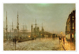 Poster Premium  Hull Docks by Night - John Atkinson Grimshaw