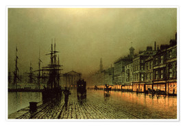 Poster Premium  Greenock Dock by Moonlight - John Atkinson Grimshaw