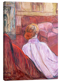Stampa su tela  Woman Seated on a Red Settee - Henri de Toulouse-Lautrec