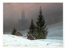 Poster Premium Winter Landscape with a Church
