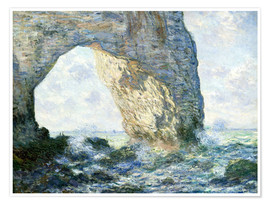Poster Premium  the manneport rock arch west of etretat - Claude Monet