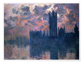 Poster Premium Houses of Parliament, Sunset