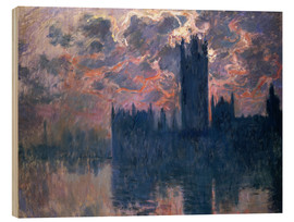 Stampa su legno  Houses of Parliament, Sunset - Claude Monet
